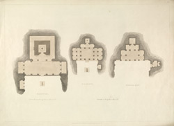 'Rameswara, Nilakanta, Durvasa Rasi'. Engraving by Thomas Daniell after James Wales from [Plans of] Hindoo Excavations in the mountain of Ellora,  published T Daniell, London, 1803.  Pl. 3.